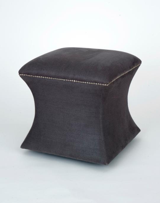 NEW BEACH ROAD - grey glazed Belgian linen stool -10